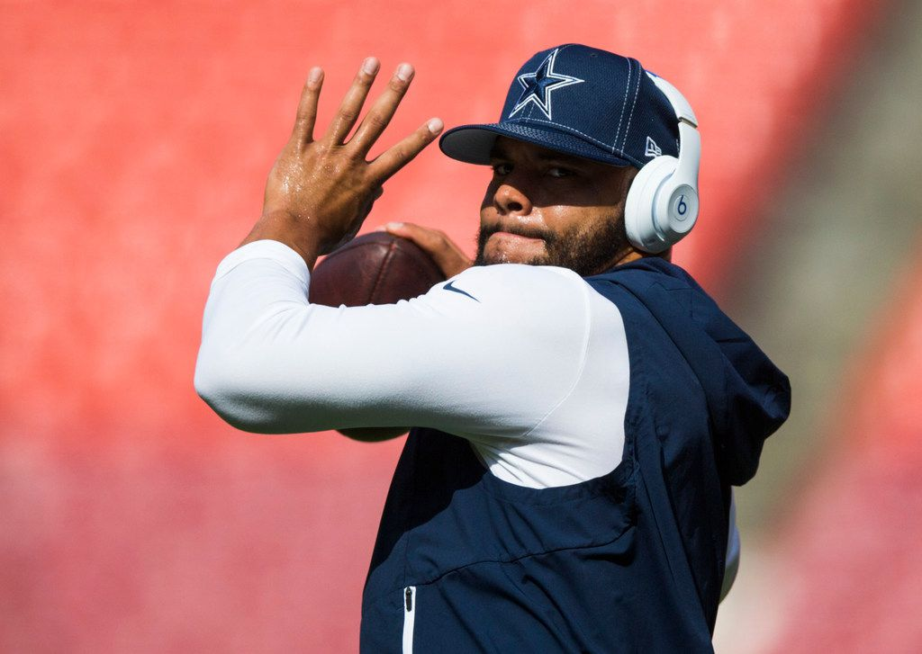 Dallas Cowboys quarterback Dak Prescott (4) warms up before an NFL game between the Dallas Cowboys and the Washington Redskins on Sunday, September 15, 2019 at FedExField in Landover, Maryland.