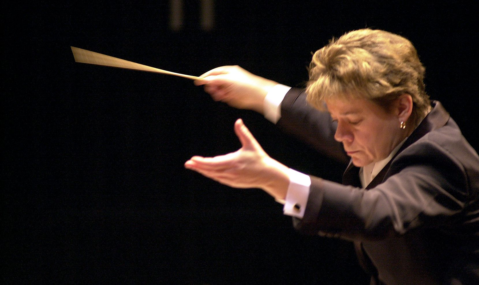 Marin Alsop is seen during rehearsals with the Bournemouth Symphony Orchestra in Britain.