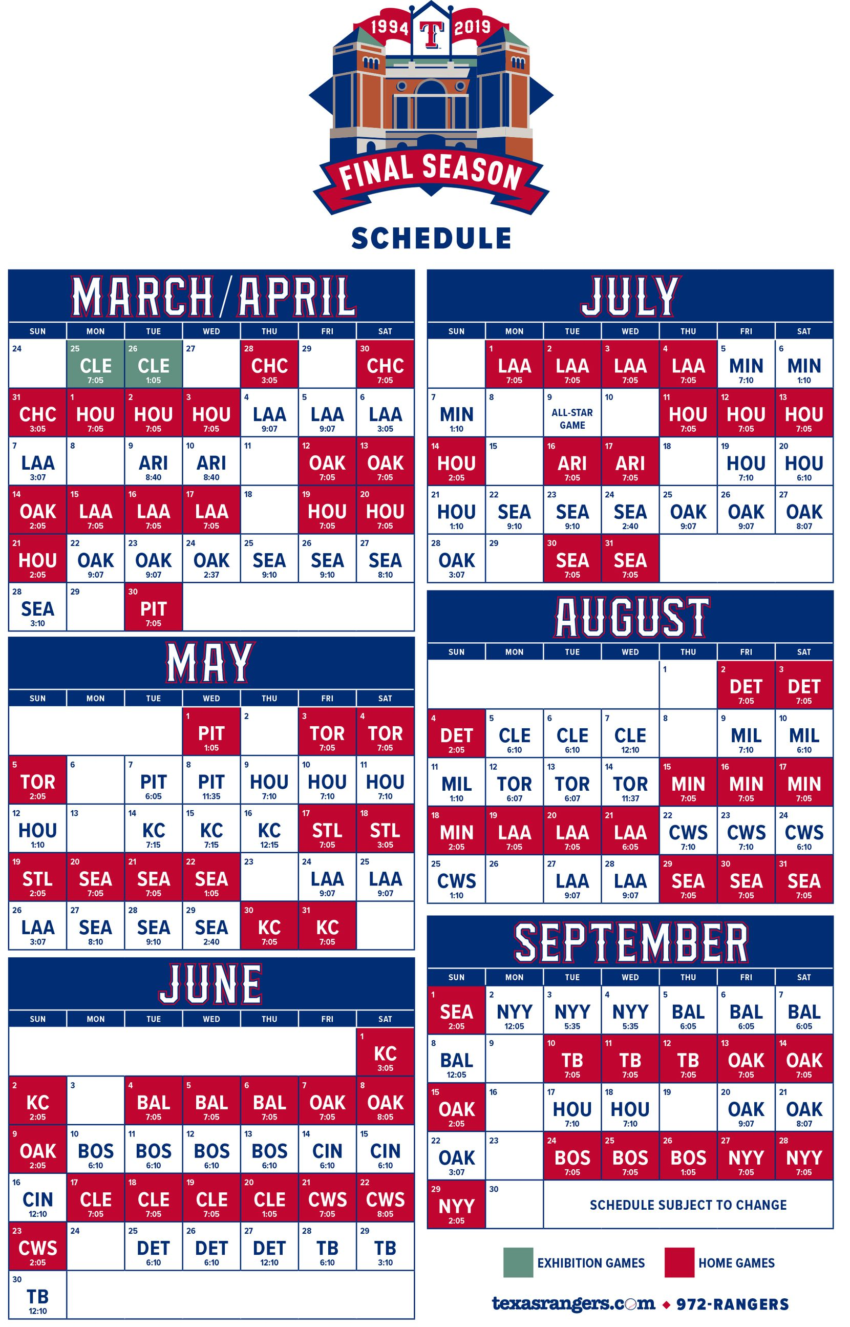 Complete Texas Rangers 2019 season schedule released: Final