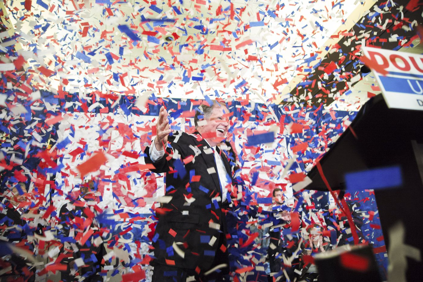 Doug Jones, the Democratic candidate for U.S. Senate, celebrates his presumed victory during his watch party in Birmingham, Ala., Dec. 12, 2017. Jones won the special election on Tuesday to fill the United States Senate seat vacated by Jeff Sessions, now the attorney general, according to The Associated Press. (Bob Miller/The New York Times)