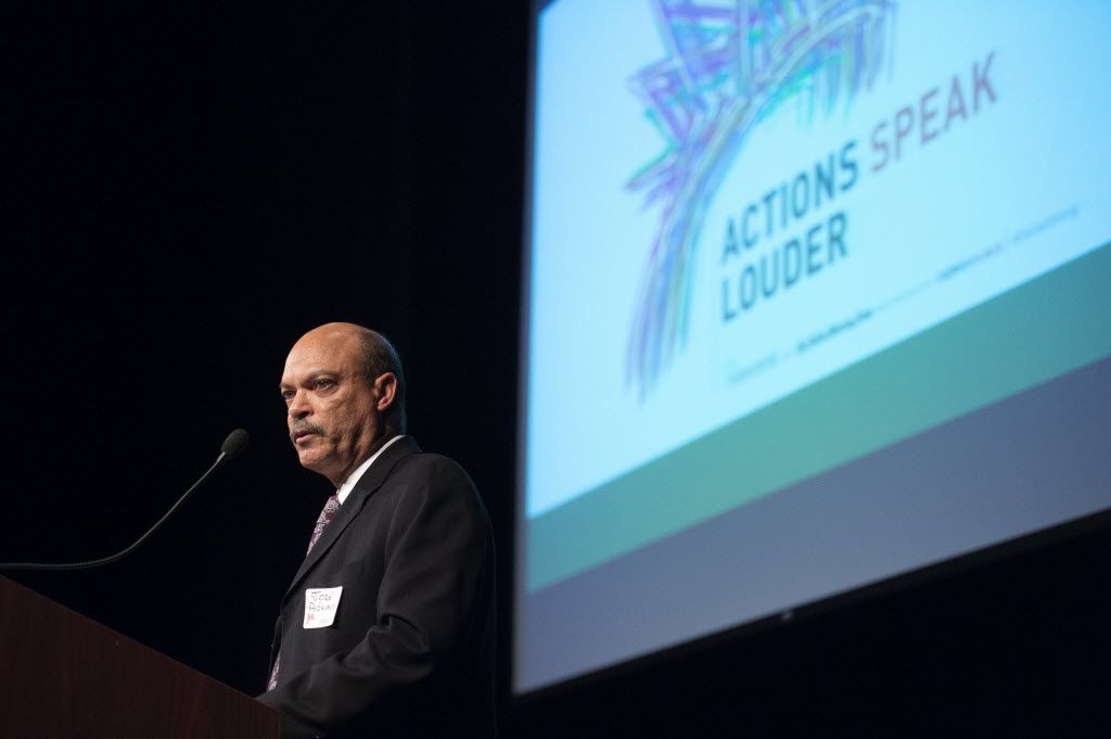 El Centro College President Jose Adames speaks during the first Actions Speak Louder forum on race and the criminal justice system on July 29 in downtown Dallas. (Jeffrey McWhorter/Special Contributor)