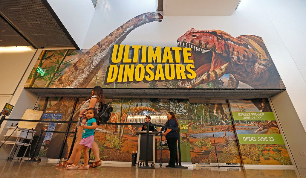 Visitors make their way to enter the new dinosaur exhibit Ultimate Dinosaurs at Perot Museum of Nature and Science in Dallas on Thursday, June 21, 2018.