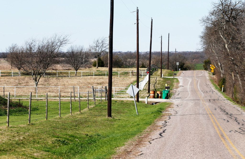 This neighborhood around Stephanie and Matt Weyenberg's home could be impacted if a Highway 380 bypass option is built.  (Vernon Bryant/The Dallas Morning News)