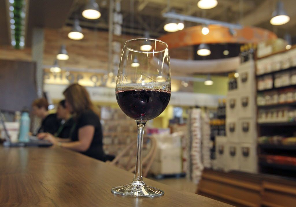 Patrons at Whole Foods grocery stores in D-FW can wander the store sipping wine. As of early January, patrons at Shops at Willow Bend in Plano can do the same. Although: Drinking wine at the Apple store seems *much* riskier.