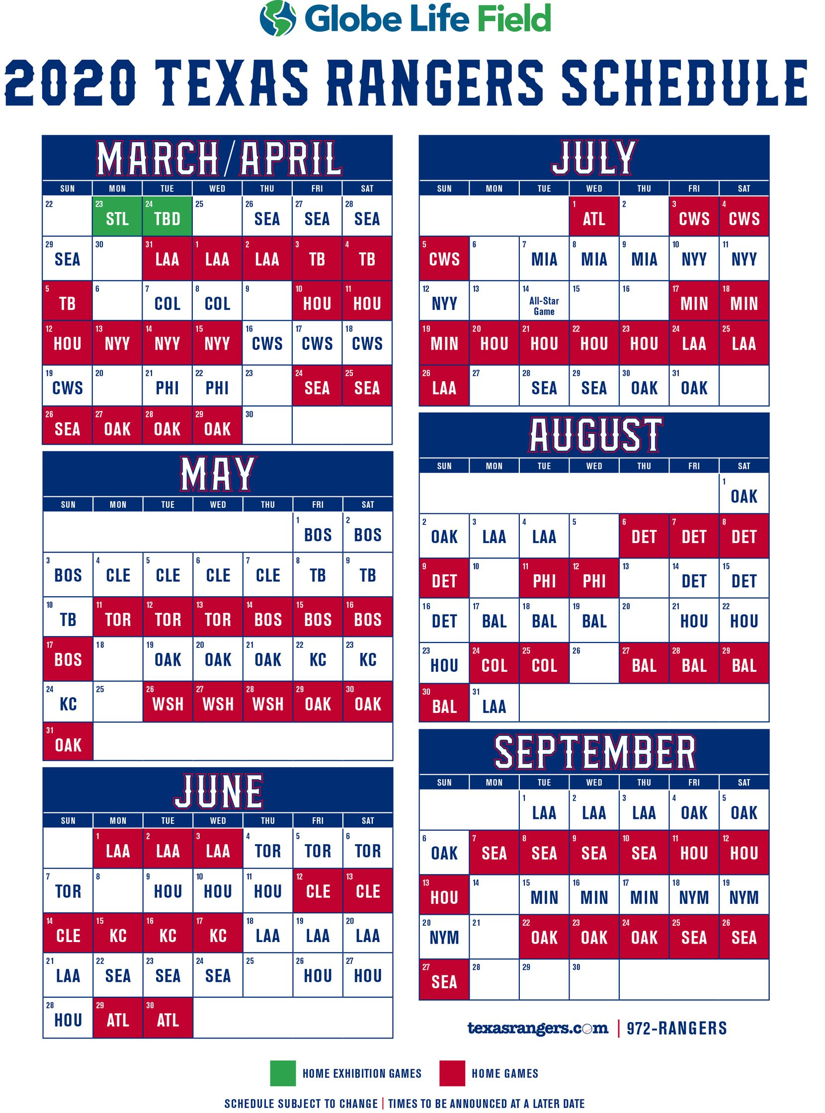 Schedule A 2020.Texas Rangers 2020 Schedule Released New Stadium To Be