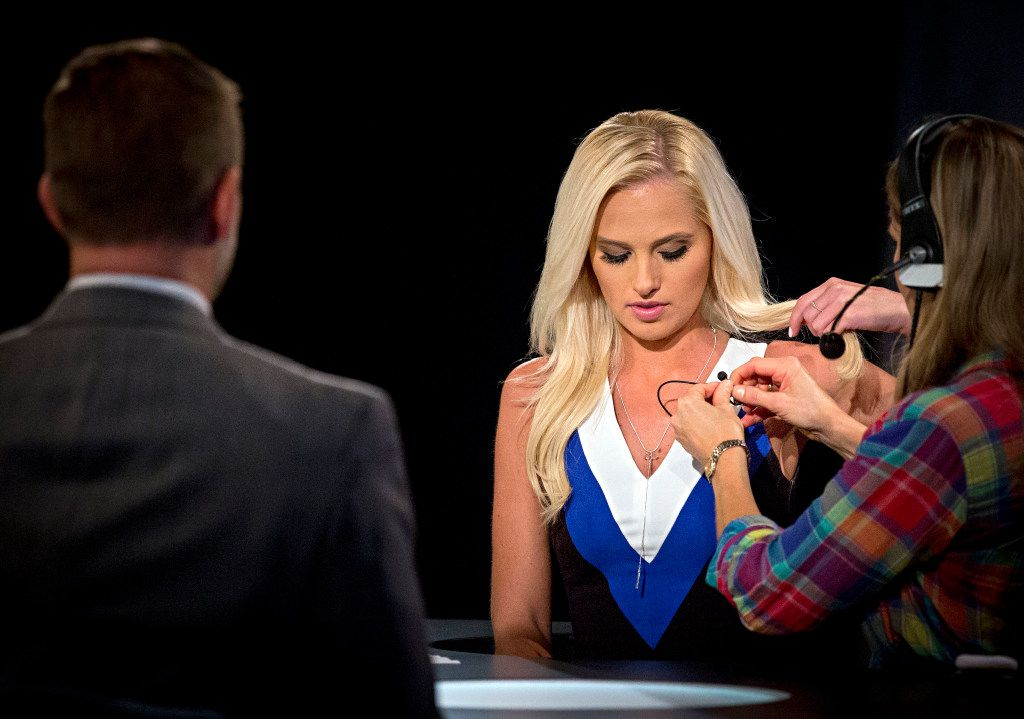 Greenville City Councilman Brent Money (left) looks on as Tomi Lahren is prepped for a taping of her show Tuesday, October 11, 2016 in Irving, Texas. Lahren, 24, is a rising conservative commentator who hosts a show on Glenn Beck's The Blaze multimedia network, which is based in Irving, Texas. (G.J. McCarthy/The Dallas Morning News)