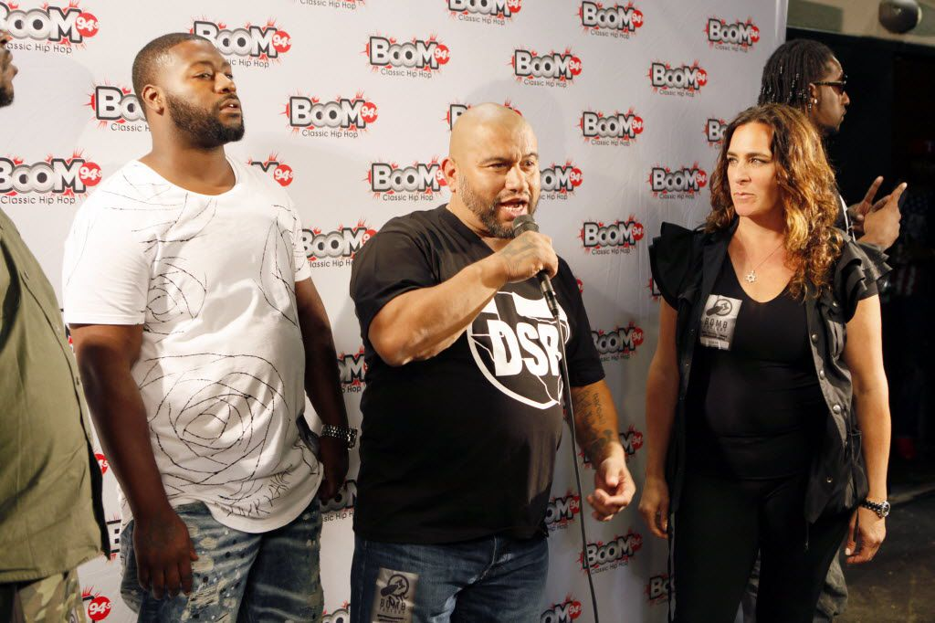 Long time local DJ and promoter George Lopez, second from left, conducts an interview on the red carpet during The D.O.C. Straight Outta Dallas Hip Hop event, on Saturday, Oct. 17, 2015 at The Bomb Factory in Dallas.