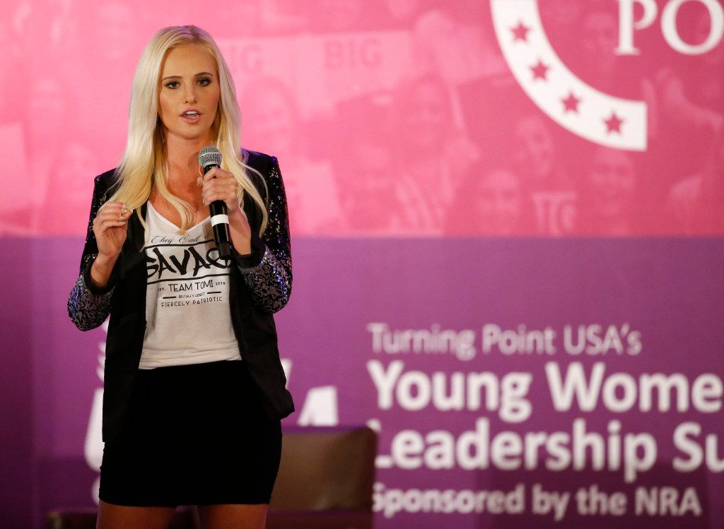 """""""You will encounter people that think you're going to back down because you're a woman. They think you'll just go away. Never go away,"""" Tomi Lahren said at the Turning Point USA's Young Women's Leadership Summit on Thursday night."""