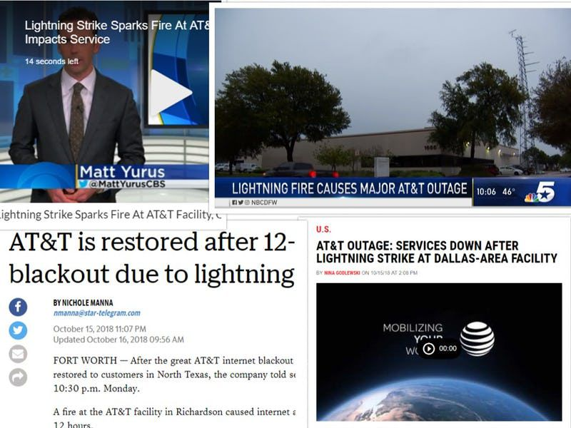 News reporter Jeff Mosier made a collage to show that news reports continued to report about a lightning strike even after that was debunked. AT&T didn't actively correct the story.