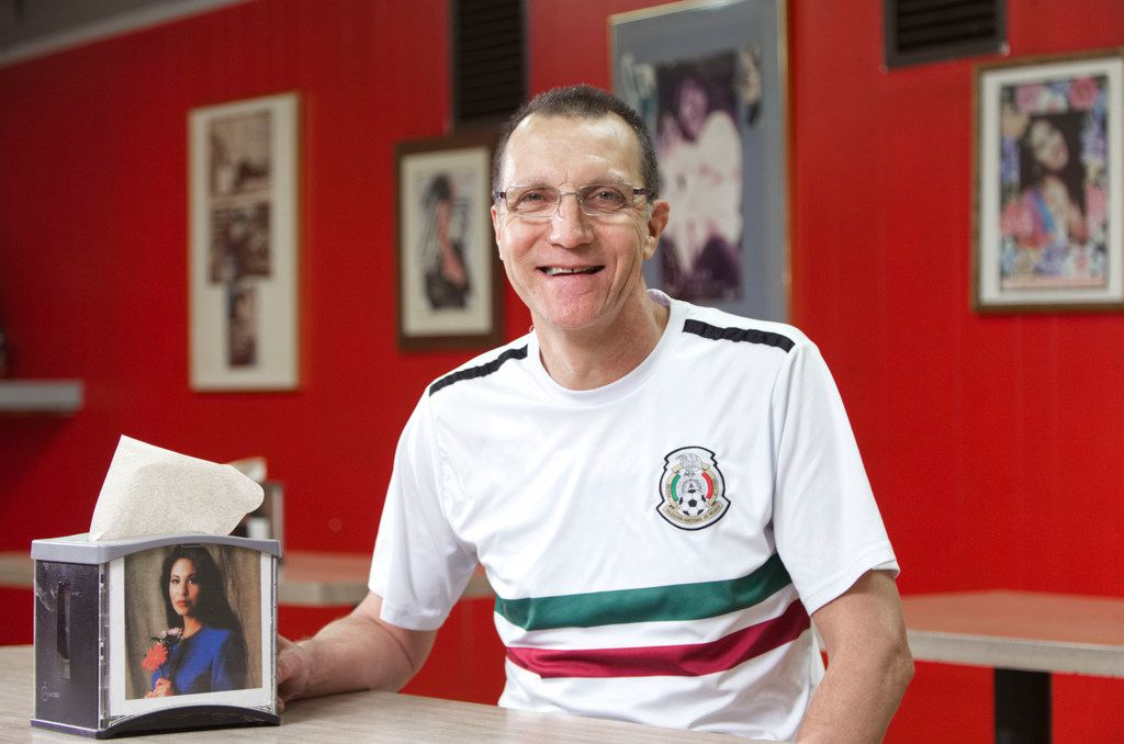 Country Burger manager Rafael Jimenez, a Selena fan, at the restaurant in Dallas. Jimenez has decorated the restaurant with Selena memorabilia.
