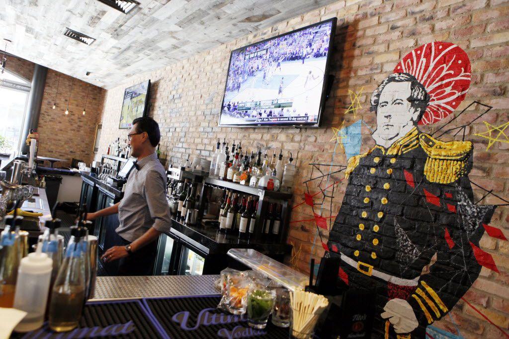 Art at the bar inside Black Ship Little Katana restaurant, on March 14, 2016, near the Omni Dallas Hotel.