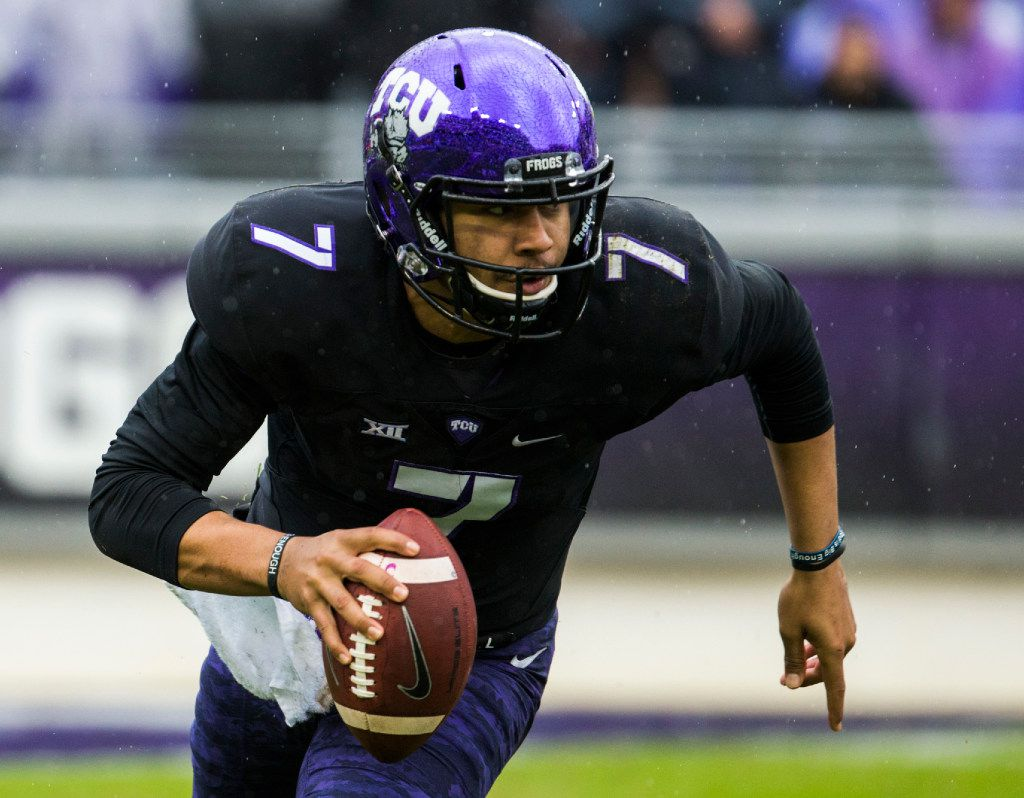 TCU Horned Frogs quarterback Kenny Hill (7) runs the ball during the third quarter of their game against the Kansas State Wildcats on Saturday, December 3, 2016 at Amon G. Carter Stadium in Fort Worth. (Ashley Landis/The Dallas Morning News)