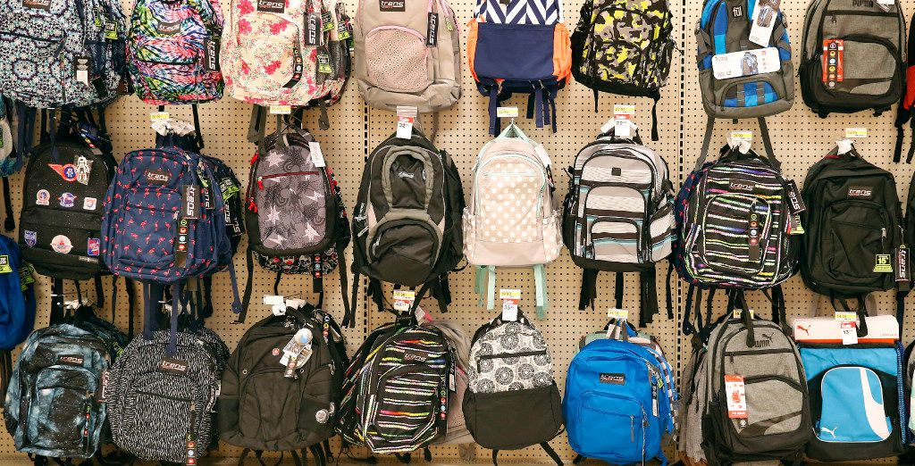 Backpacks are pictured as back-to-school shoppers at Target get a head start on school supplies in Dallas.