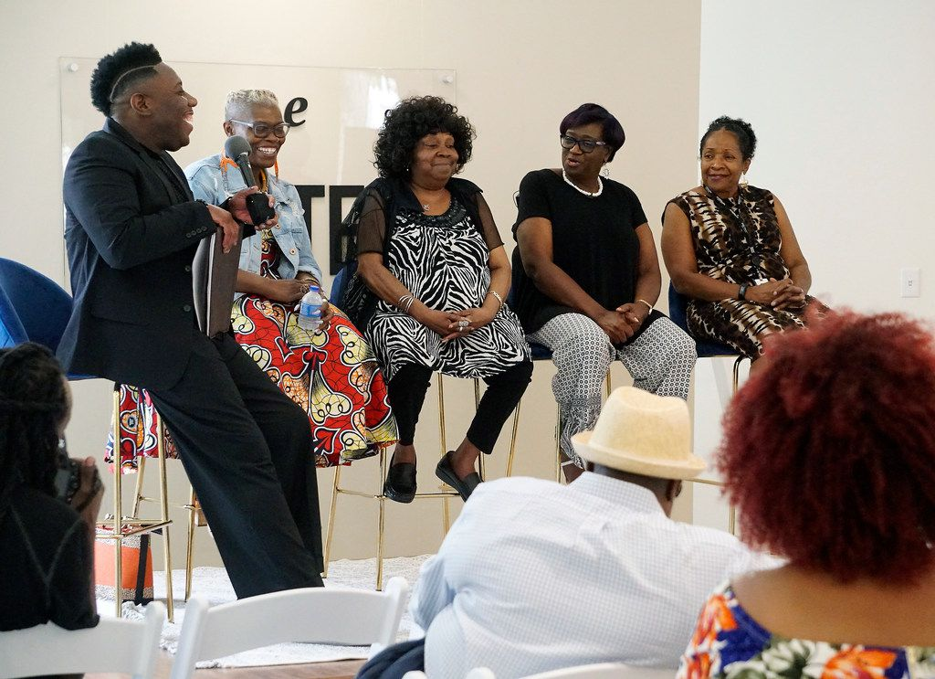 From left, Auntjuan M. Wiley speaks with Marsha Jones, Linda Freeman, Ebony Starr and Dr. Deborah Morris-Harris during an HIV prevention discussion at The Riveter in Dallas on Friday, August 2, 2019. The event was sponsored by the Afiya Center and is part of the CDC's HIV Treatment Works Campaign.