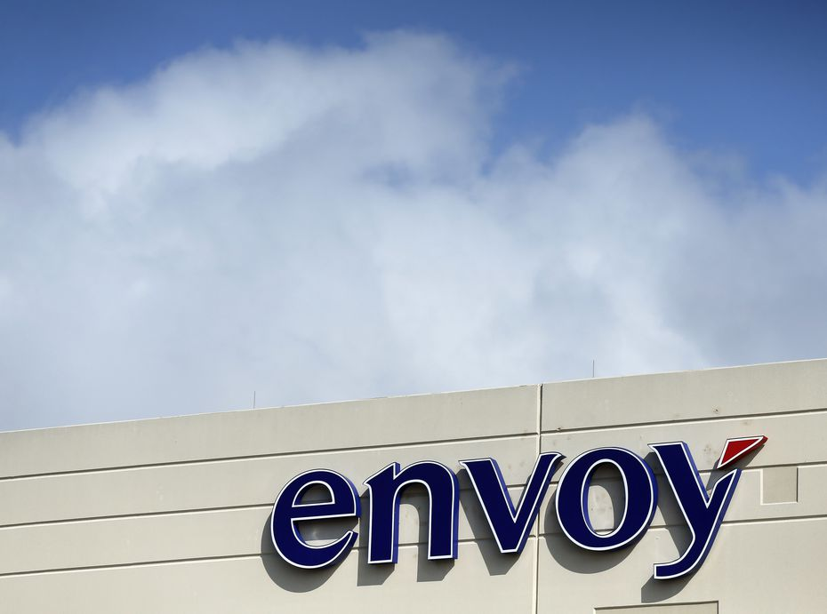 An exterior view of the Envoy headquarters in Irving, Texas, Thursday, May 9, 2019. Envoy Air Inc. is a subsidiary of American Airlines Group, which provides regional flight service to American Airlines under the American Eagle brand and ground handling services for many American flights.