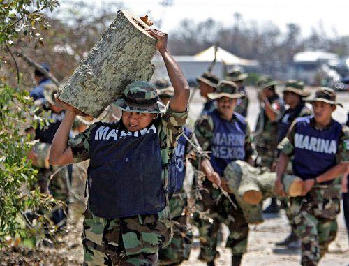 Unos soldados mexicanos cargan con pedazos de árboles, mientras que ayudan a limpiar los sectores devastados por el Huracán Katrina en Biloxi, Mississippi, en esta foto de 2005. Foto AL DÍA