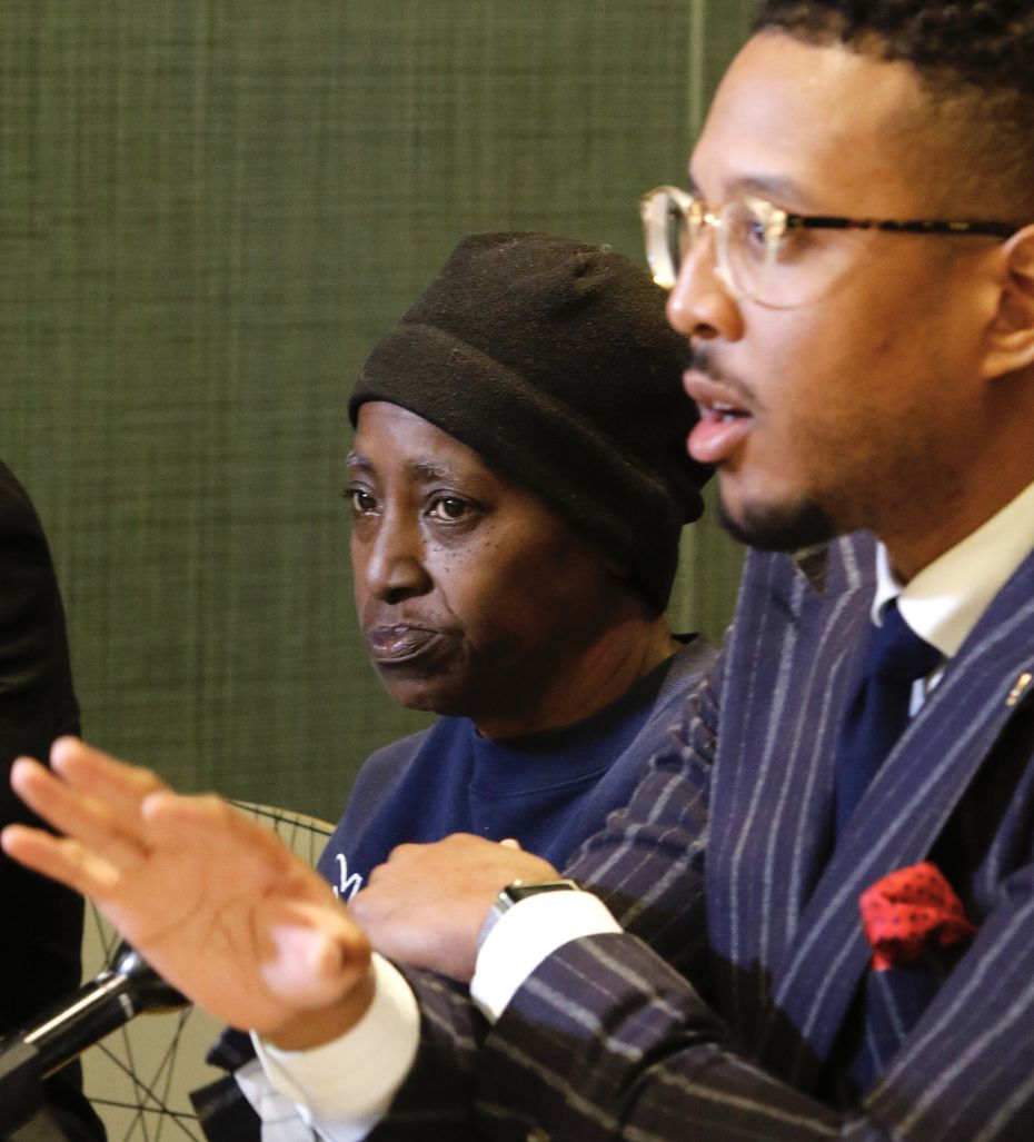 """Ethelyn Ross, left, mother of Diamond Ross, listens to attorney Justin Moore talk about the videos on Friday morning, November 8, 2019 in Dallas, Texas. Dallas police released """"disturbing"""" videos late Wednesday that show the final hours of Diamond S. Ross, a 34-year-old woman who died in police custody of an overdose in 2018. (Irwin Thompson/The Dallas Morning News)."""