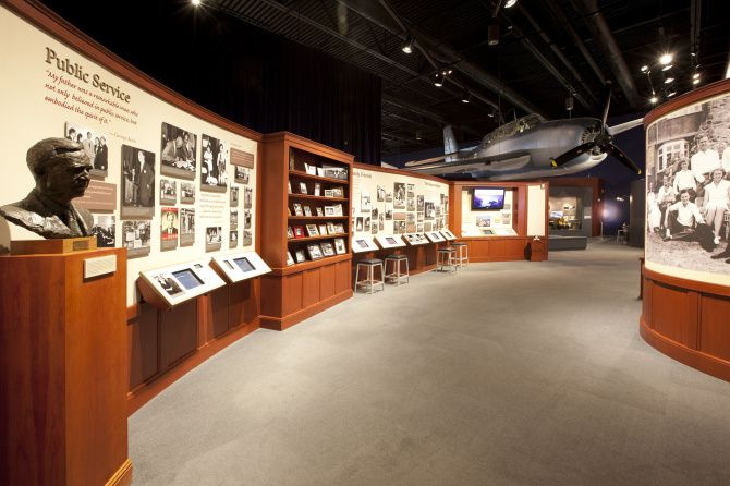 The George Bush Presidential Library and Museum holds 100,000 artifacts. The library is open to researchers, preferably by appointment.