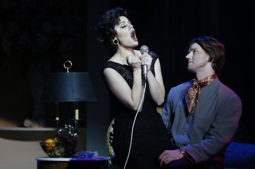 """Janelle Lutz, playing Judy Garland, and Alex Ross, playing Mickey Deans, perform in """"End of the Rainbow"""" during a rehearsal at the Kalita Humphreys Theater in Dallas Wednesday March 30, 2016. (Andy Jacobsohn/The Dallas Morning News)"""