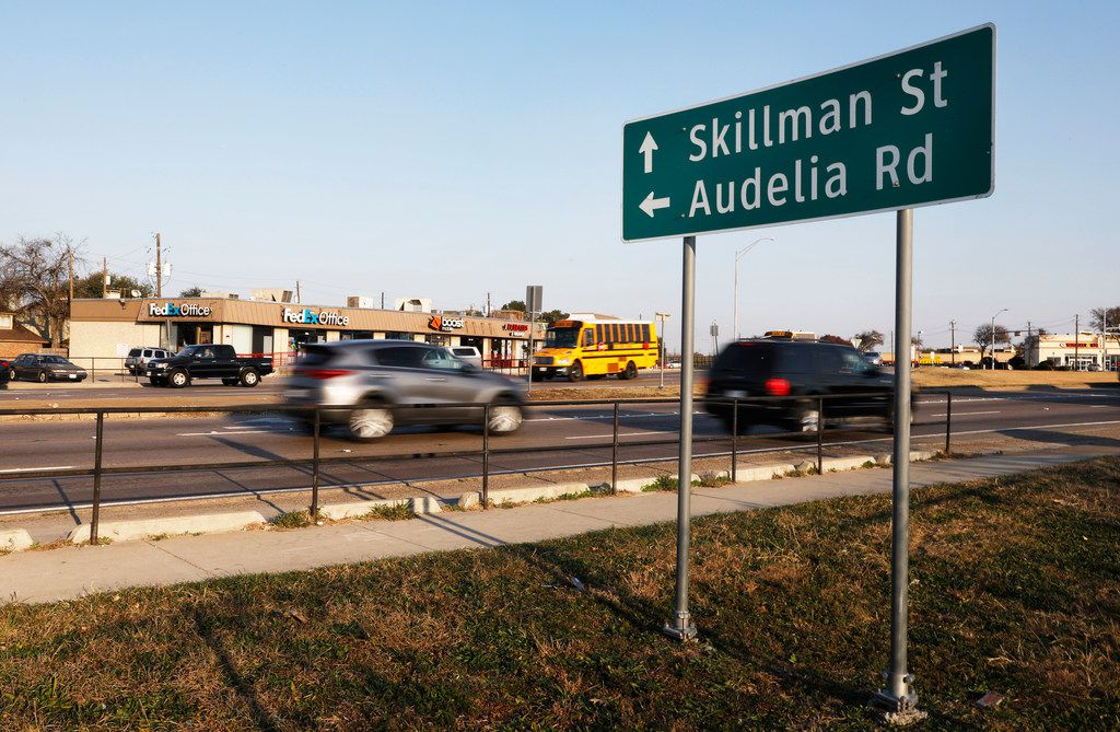 Vehicles travel north on Skillman Street near Interstate 635.  The split intersection of Skillman, and Audelia Road at LBJ Freeway has been approved for a $65 million makeover, but the project has been stalled in order to lump it in with the freeway rebuild.