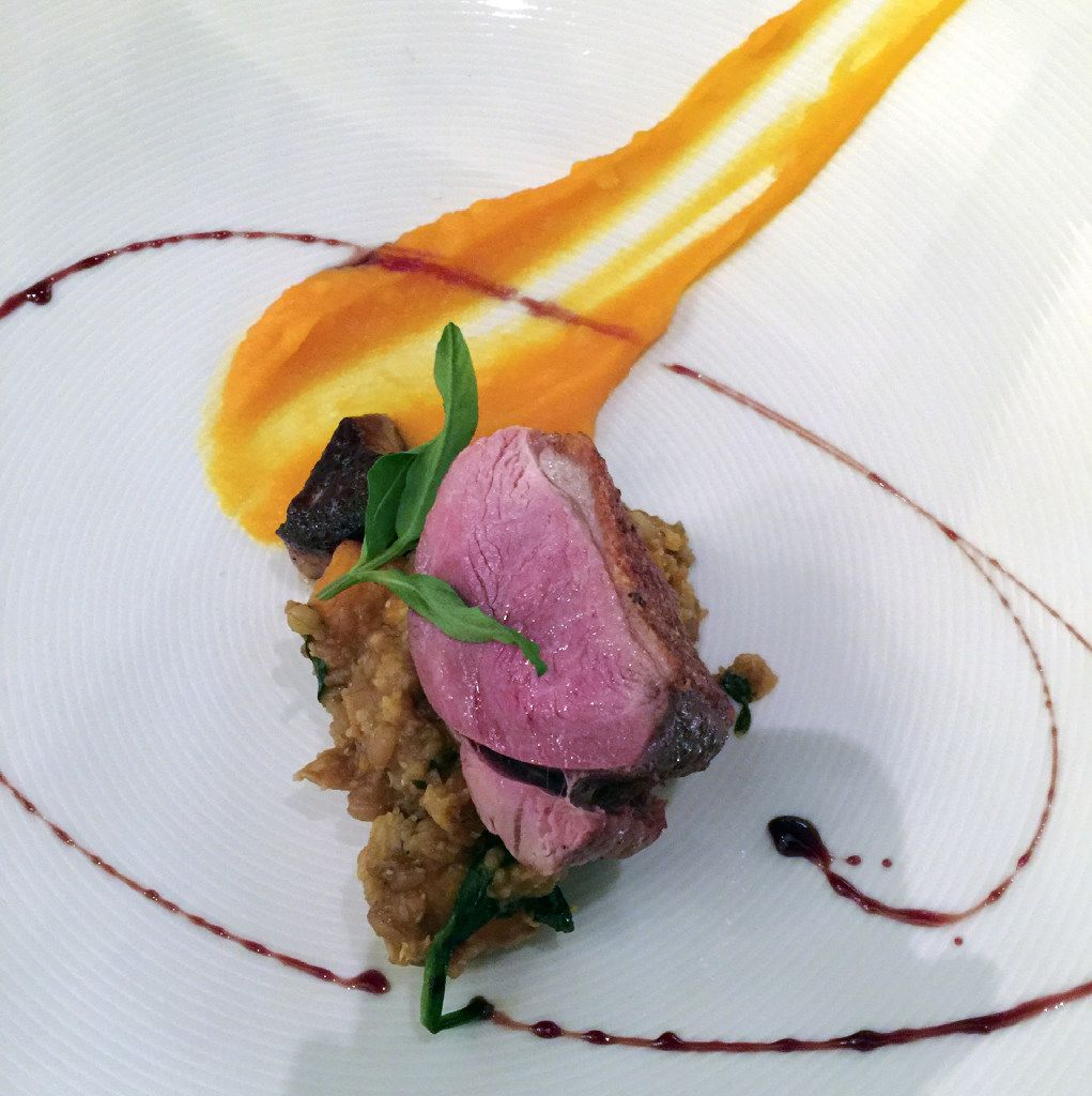 Chef Ryan Clark's seared duck breast with faro and pumpkin risotto at the tribally owned PY Steakhouse, Casino del Sol in Tucson.