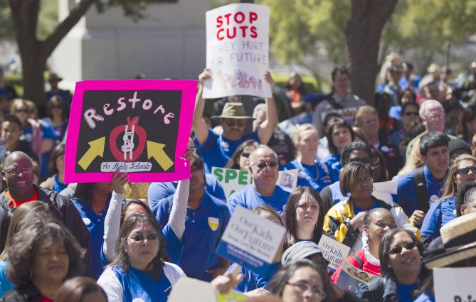 Texas AFT members rallied at the state Capitol on Monday to support school employees, students and public schools.