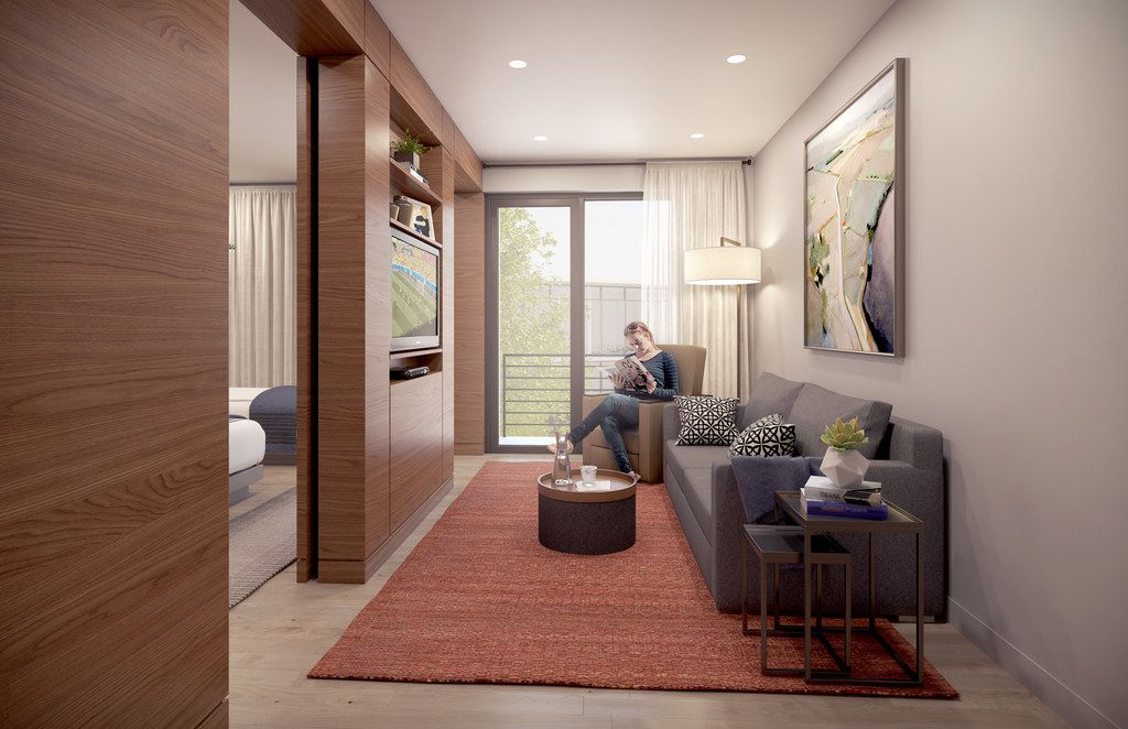 Artist's rendering of the guest suite's living area at the Gene and Jerry Jones Family Hope Lodge being built next to Baylor University Medical Center.