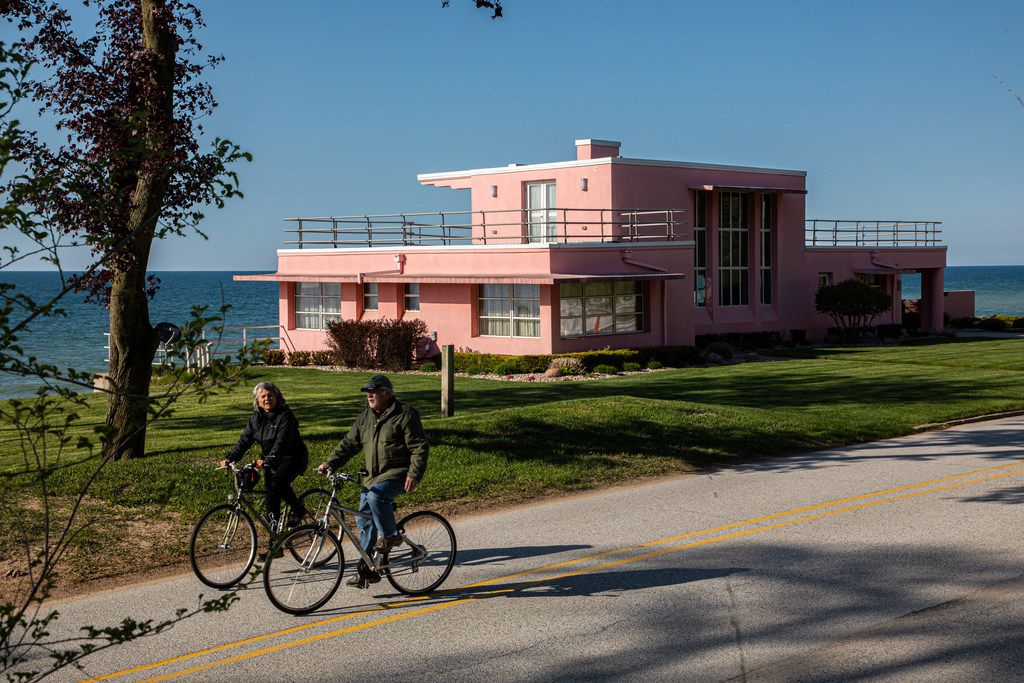 The Dunes and Lake drive passes by the historic Century of Progress homes that debuted in 1933-34 at the Chicago World's Fair. Pictured is the Florida Tropical House overlooking Lake Michigan.