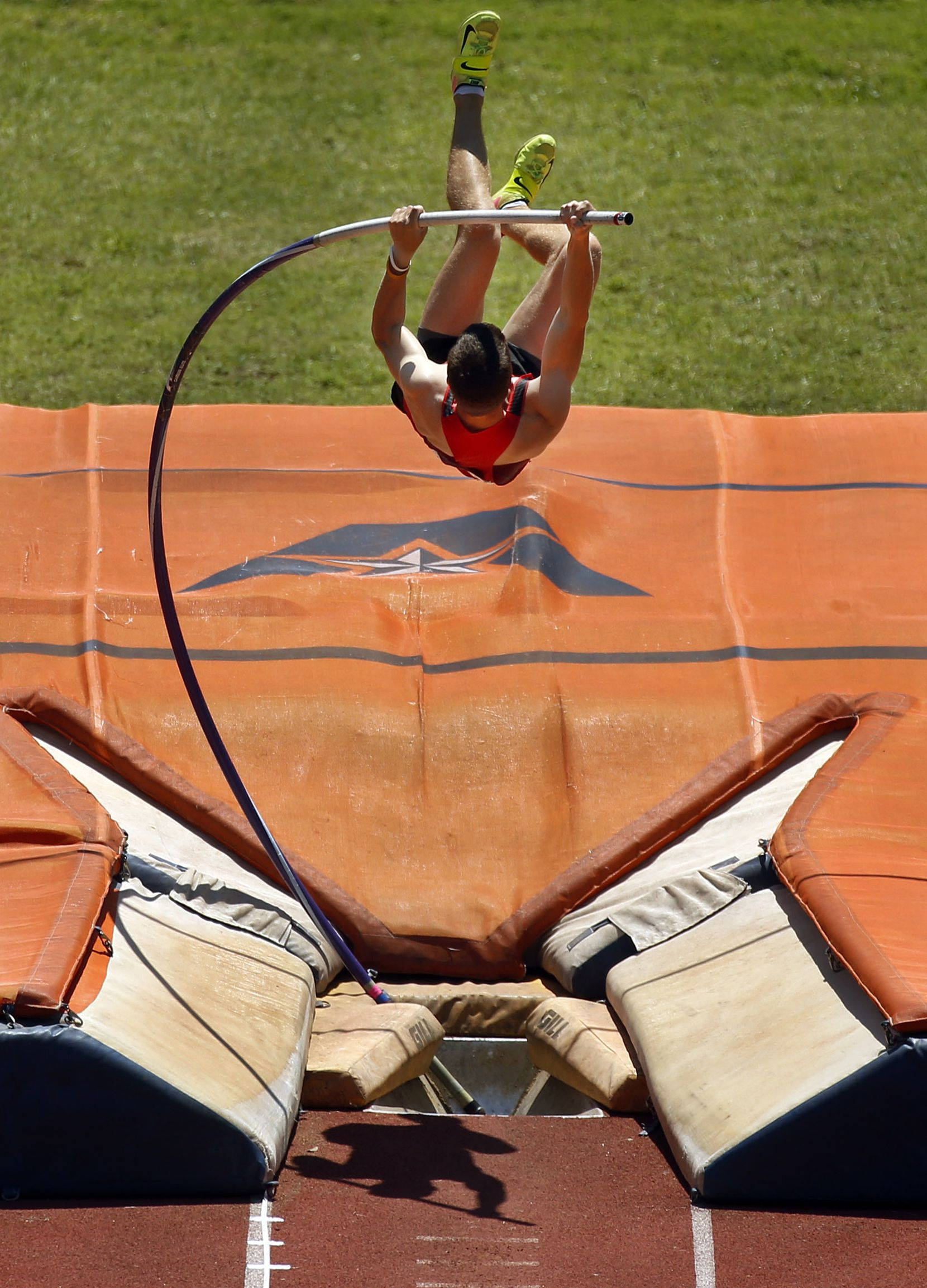 Padding around the bend cavity (bottom, center) is to help protect pole vaulters like Carson Meyer of Flower Mound Marcus, who competed at the Class 6A Region I at UTA's Maverick Stadium on April 26, 2019. (Tom Fox/The Dallas Morning News)