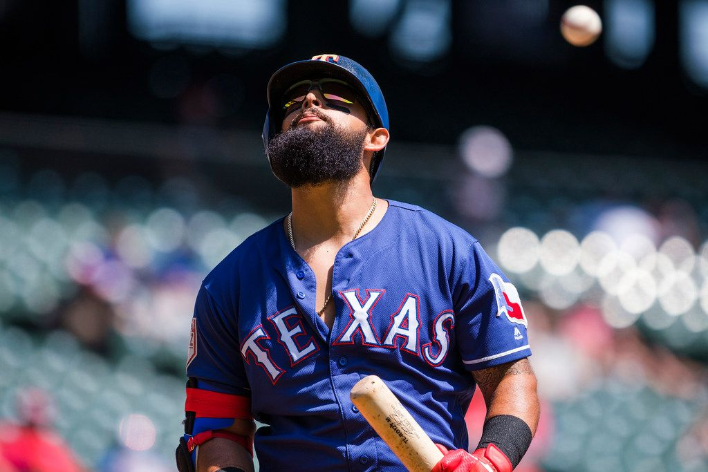 Texas Rangers second baseman Rougned Odor prepares to bat during the first inning of a spring training baseball game against the Cleveland Indians at Globe Life Park on Tuesday, March 26, 2019, in Arlington. (Smiley N. Pool/The Dallas Morning News)