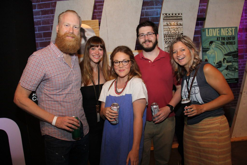 Groups of friends at Art Con Skewed at Life in Deep Ellum on June 6, 2015