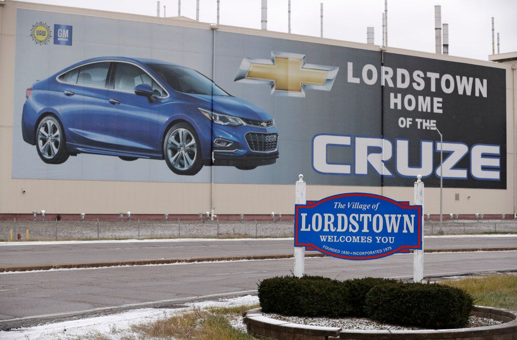 A mural is displayed on a wall at General Motors' Lordstown plant, Tuesday, Nov. 27, 2018, in Lordstown, Ohio.