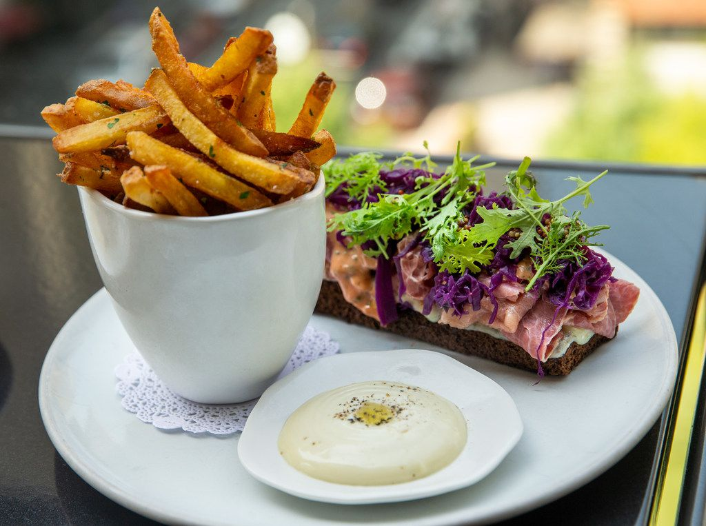 The Reuben tartine, with housemade mayonnaise and french fries