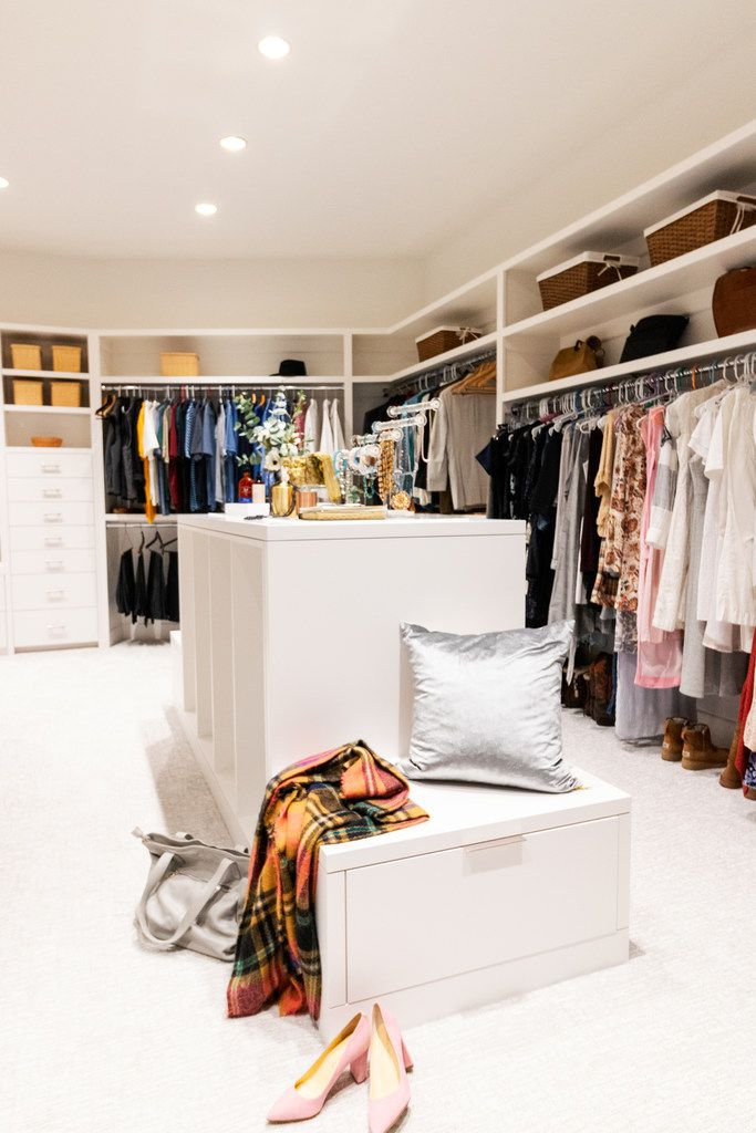 Tara Lenney says that the key ingredients for a dreamy, functional closet are organization, a place to sit, a place to plan, and lighting.