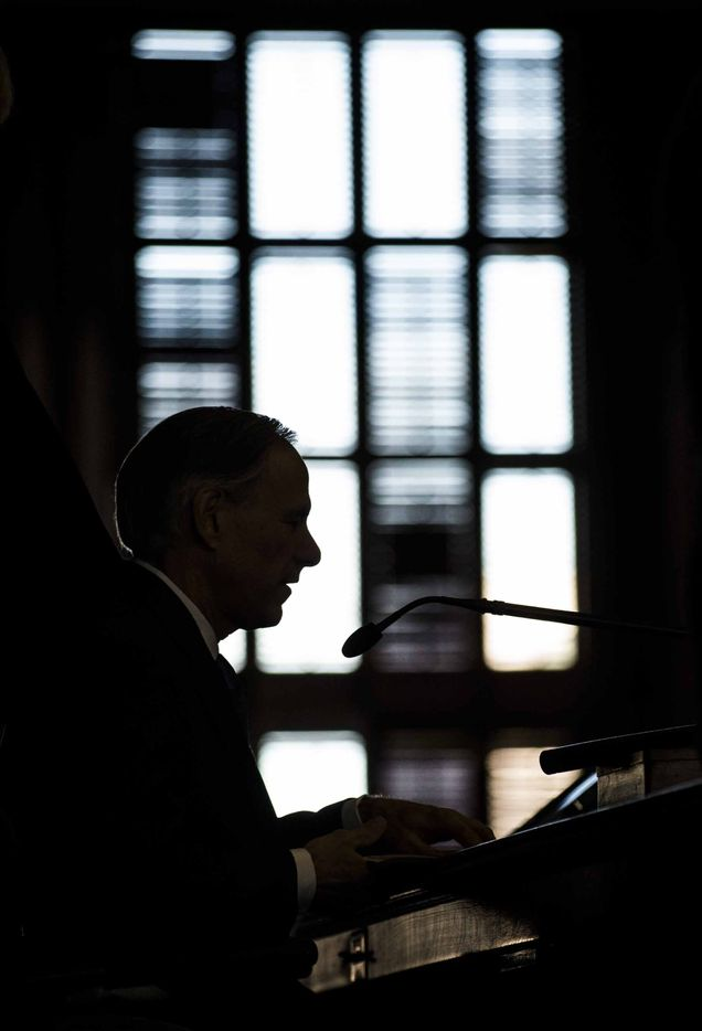 Texas Gov. Greg Abbott speaks during the first day of the 85th Texas Legislative Session on Tuesday at the Texas State Capitol in Austin.