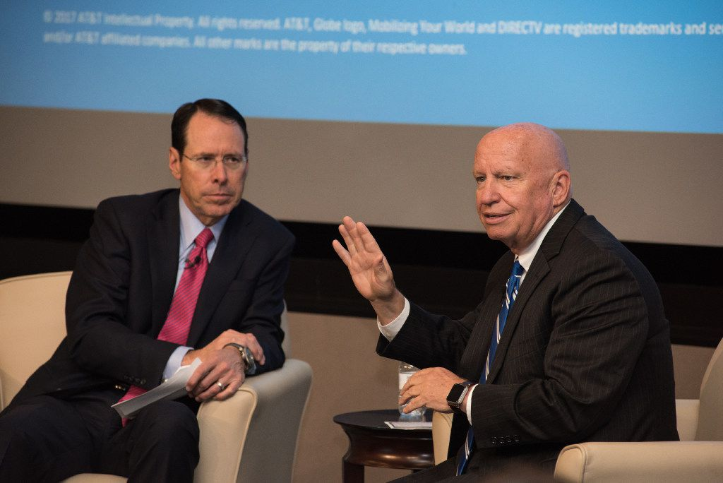 AT&T hosted a town hall about tax reform at the company's Dallas headquarters with AT&T CEO Randall Stephenson (left) and Texas Rep. Kevin Brady on Aug. 23. The Houston-area Republican is the House's top tax writer as the chairman of its Ways and Means Committee.