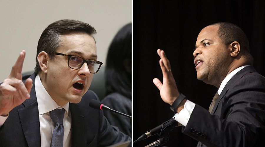 A runoff election in June will decide whether Scott Griggs (left) or Eric Johnson will be Dallas' next mayor.