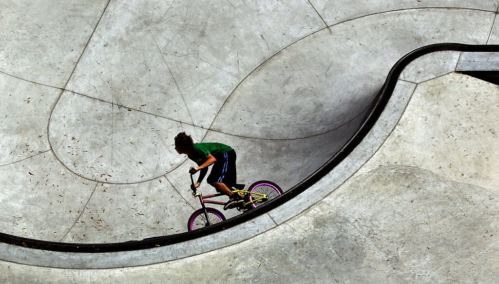 Michael Woodby, 13, spent his last day of summer vacation doing what he has been doing for most of the summer, and that is riding and doing tricks at the Austin BMX and Skate Park next to House Park and the ACC Rio Grande campus parking garage in Austin.  (File Photo/Austin American-Statesman)