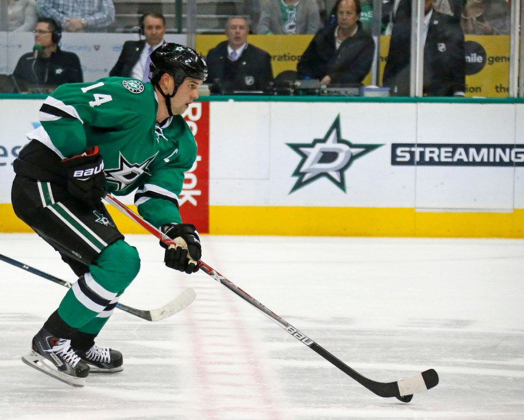 Dallas Stars left wing Jamie Benn (14) is pictured during the Chicago Blackhawks vs. the Dallas Stars NHL hockey game at the American Airlines Center in Dallas on Saturday, November 5, 2016. (Louis DeLuca/The Dallas Morning News)