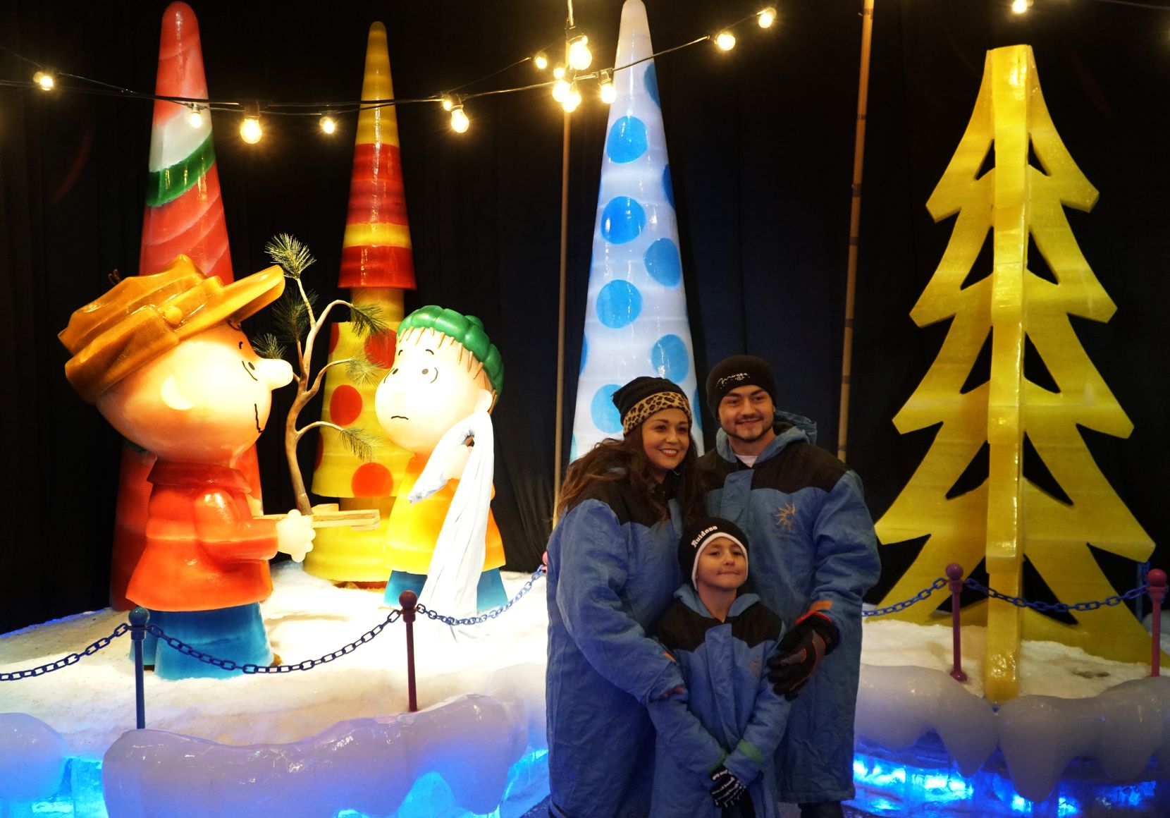 """""""A Charlie Brown Christmas"""" is the theme for this year's """"Ice!"""" exhibit, part of Lone Star Christmas at the Gaylord Texan."""