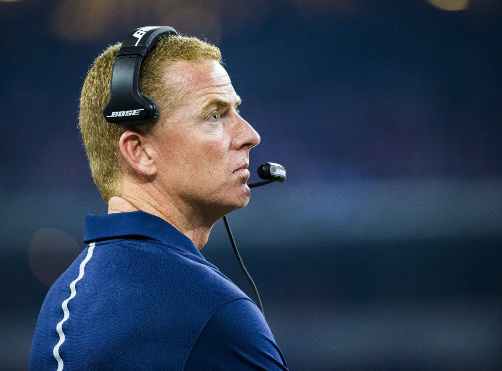 Dallas Cowboys head coach Jason Garrett reacts to a turnover and a New York Giants touch down during the fourth quarter of their game on Sunday, September 13, 2015 at AT&T Stadium in Arlington, Texas.   (Ashley Landis/The Dallas Morning News)