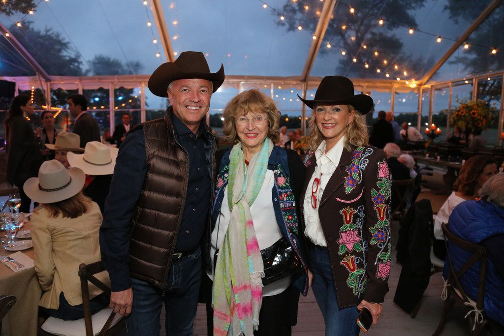 Monique Barbier-Mueller (center) poses for a photo with her son Gabriel Barbier-Mueller (left) and daughter-in-law Ann at the couple's Dallas-area ranch.