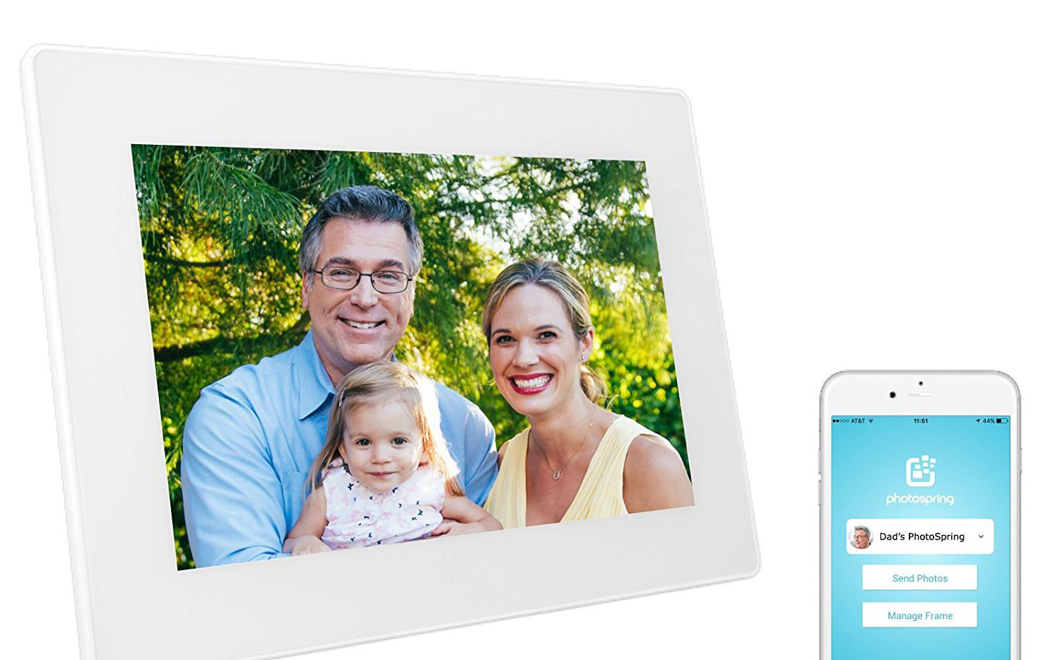 The PhotoSpring digital frame with dock and mobile app is a perfect, wireless way to display your photos.