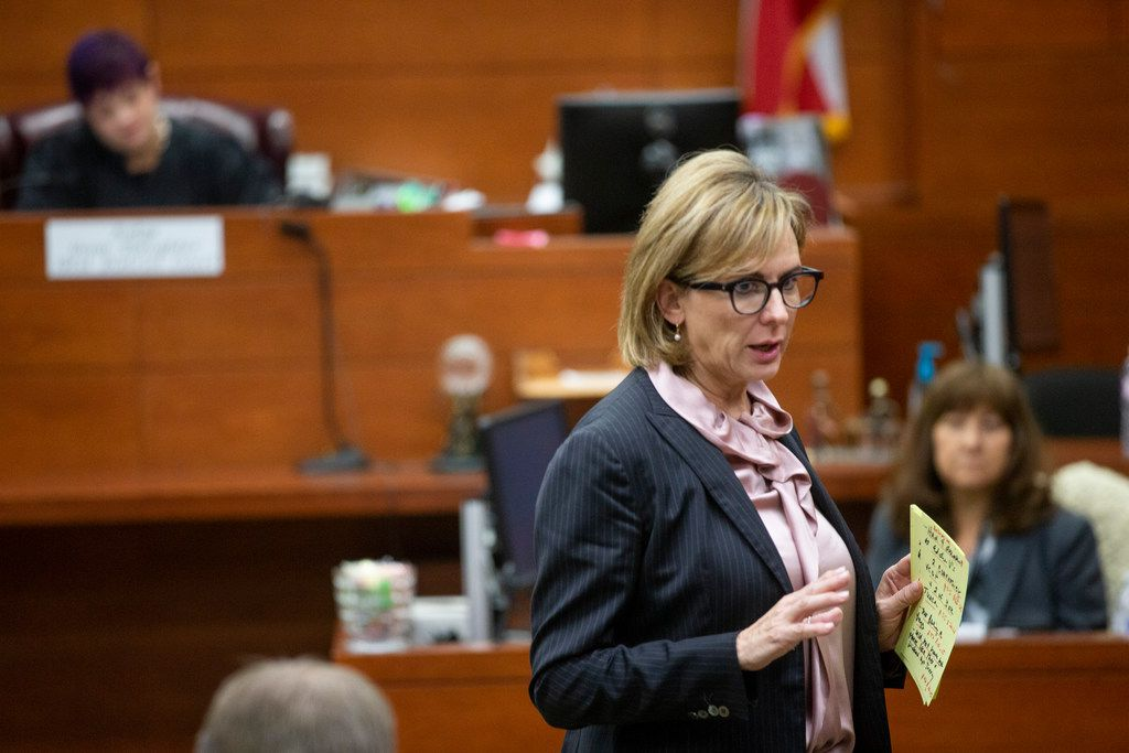 Charla Aldous, attorney for Jerry Brown's mother, Stacey Jackson, asks questions during the trial.