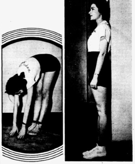"""WITHOUT FUDGING by bending the knees, can you touch the floor? Never mind if you can't: It's a big help to be that limber, but it isn't absolutely necessary."" Right photo: ""WALL TEST: Head, shoulders, waist, hips, calves, heels — all should line up straight in perfect standing posture."""