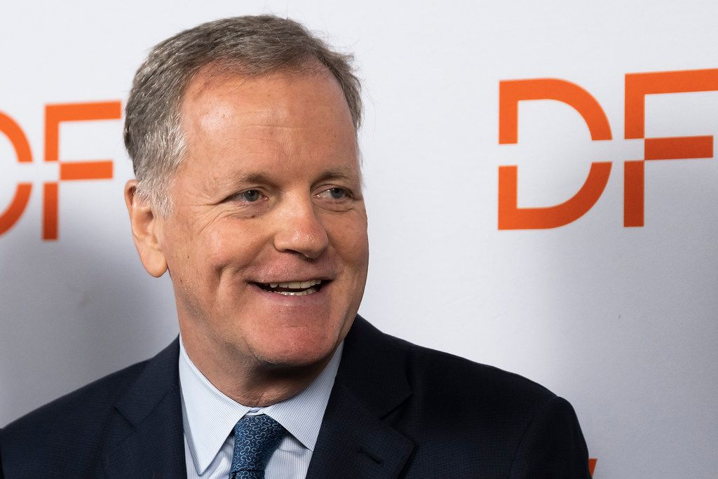 American Airlines CEO Doug Parker addresses the media after it was announced that the DFW Airport would be adding a new terminal during the annual state of the airport address at the Hyatt Regency DFW on Monday, May 20, 2019. The new terminal, named Terminal F, will add 24 gates and open as soon as 2025.(Smiley N. Pool/The Dallas Morning News)