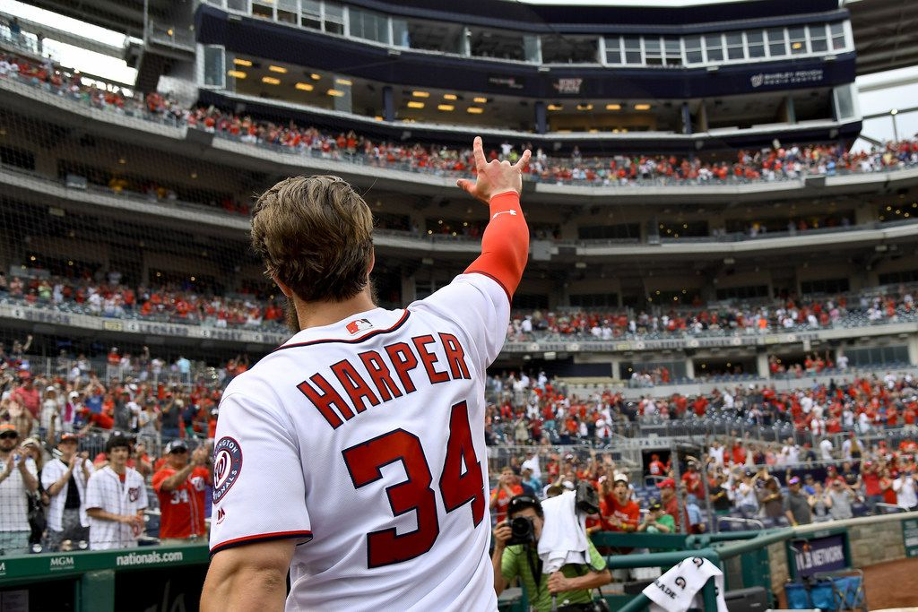 Megastar free agent Bryce Harper hasn't signed a contract to play in 2019, and spring training begins in a few weeks. MUST CREDIT: Washington Post photo by Katherine Frey.