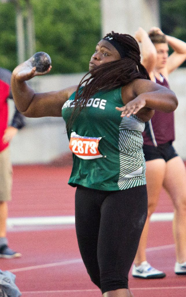Mansfield Lake Ridge's Faith Ette competes in the 5A girls shot put during the UIL state track meet at the Mike A. Myers Stadium, at the University of Texas on May 11, 2017 in Austin, Texas. (Thao Nguyen/Special Contributor)