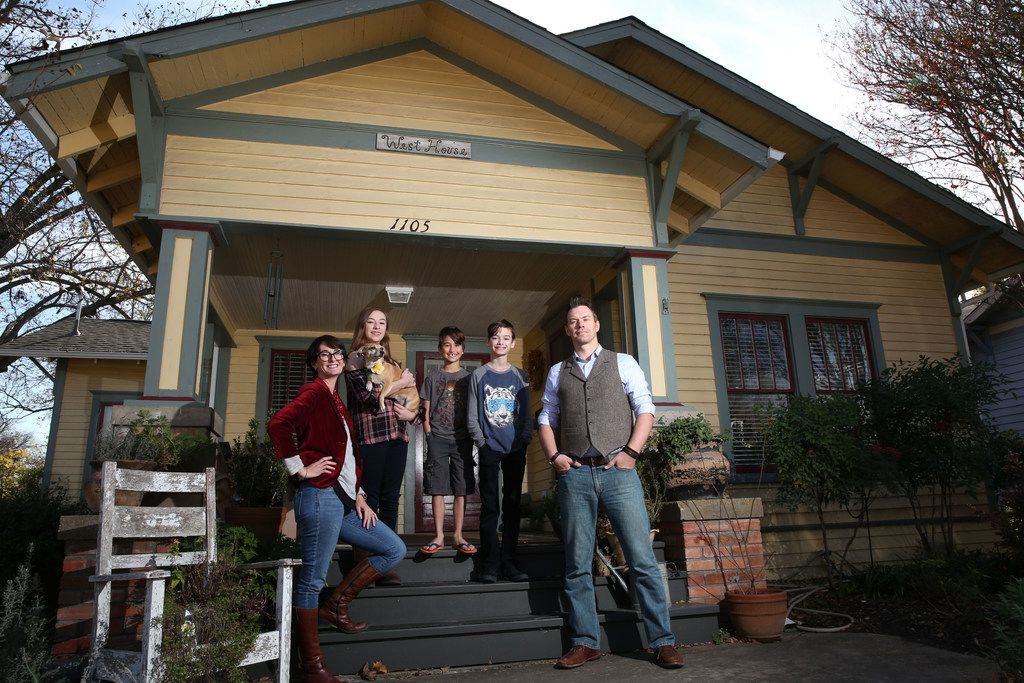 The Ettiene family (from left) Coryanne, Margeaux, 13, Xander, 9, Sawyer, 12, Alex and Spinny the dog at their new 1,400-square-foot home in McKinney. Their previous home was 1,000 square feet.