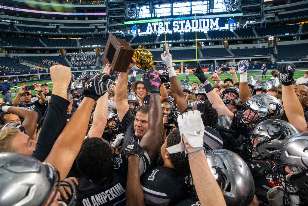Denton Guyer celebrates after beating Cedar Hill in the Class 6A Division II area-round high school football playoff game at the AT&T Stadium in Arlington, Texas, on Saturday, November 23, 2019.